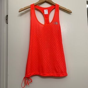 The North Face neon orange tank with cutout XS